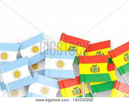 Flags Of Argentina And Bolivia Isolated On White