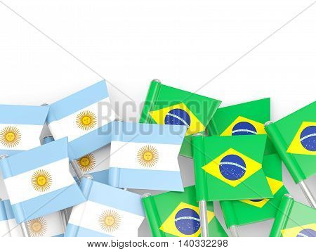 Flags Of Argentina And Brazil Isolated On White