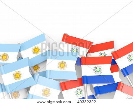 Flags Of Argentina And Paraguay Isolated On White