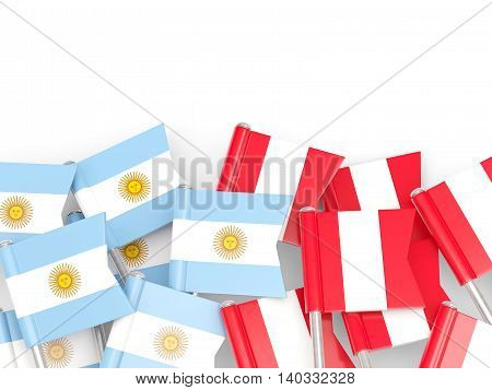 Flags Of Argentina And Peru Isolated On White