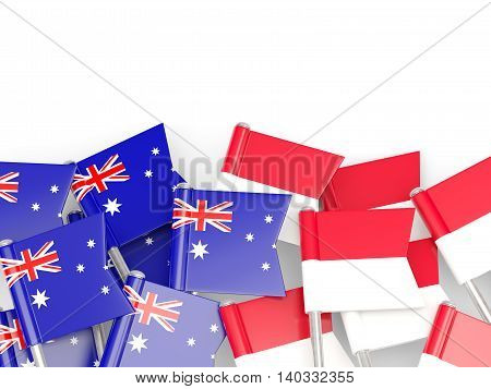 Flags Of Australia And Indonesia Isolated On White