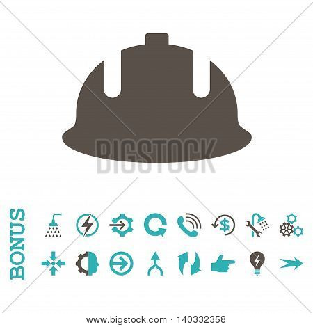 Construction Helmet vector bicolor icon. Image style is a flat iconic symbol, grey and cyan colors, white background.