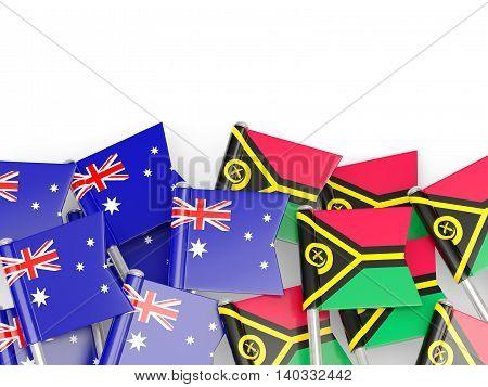 Flags Of Australia And Vanuatu Isolated On White