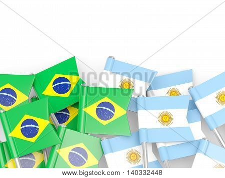 Flags Of Brazil And Argentina Isolated On White