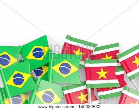 Flags Of Brazil And Suriname Isolated On White