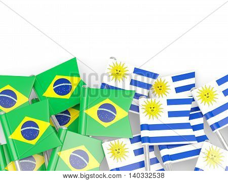 Flags Of Brazil And Uruguay Isolated On White