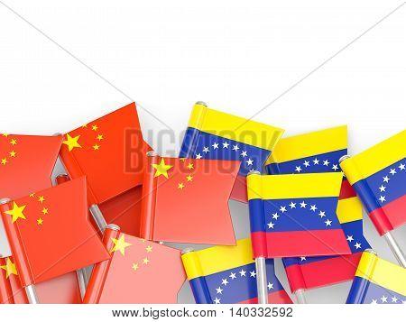Flags Of China And Venezuela Isolated On White
