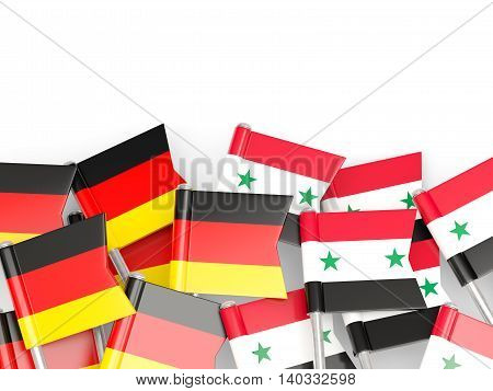 Flags Of Germany And Syria  Isolated On White