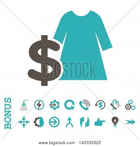 Dress Price vector bicolor icon. Image style is a flat pictogram symbol, grey and cyan colors, white background.