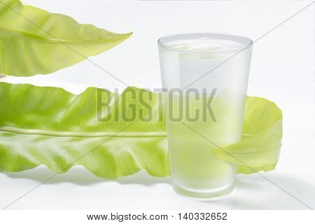 fresh water in glass with green leaf on white background