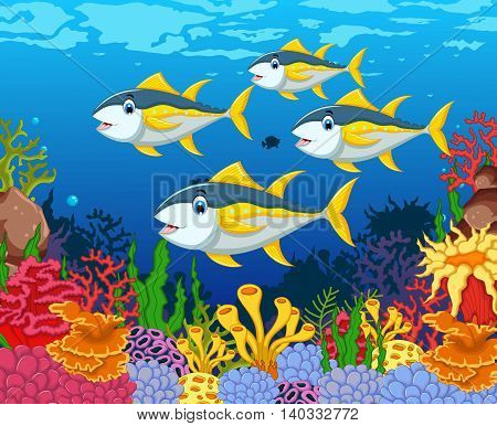funny tuna fish cartoon with beauty sea life background