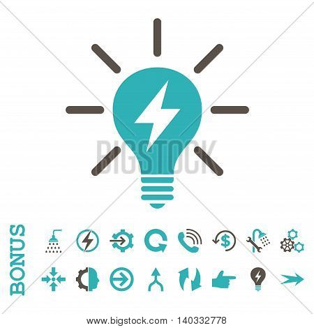 Electric Light Bulb vector bicolor icon. Image style is a flat pictogram symbol, grey and cyan colors, white background.