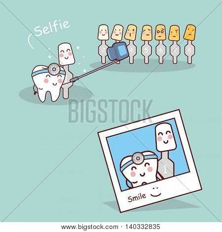 Happy cartoon tooth and dentist are selfie