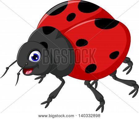 Cute ladybug cartoon posing for you design