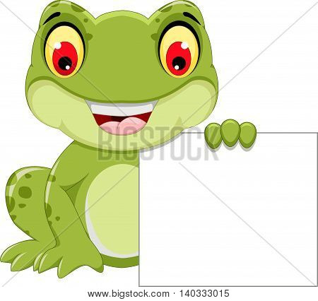 funny frog cartoon holding a blank sign