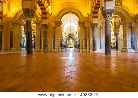 Cordoba, Andalusia, Spain - April 20, 2016: interior of the Great Mosque or Mezquita Catedral de Cordoba.