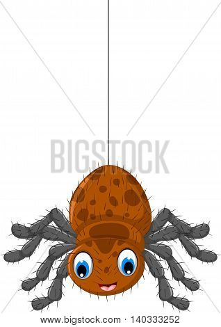 funny brown spider cartoon hinging for you design