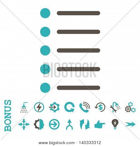 Items vector bicolor icon. Image style is a flat pictogram symbol, grey and cyan colors, white background.