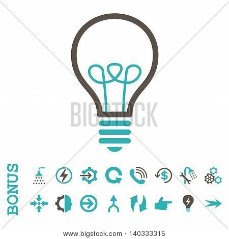 Lamp Bulb vector bicolor icon. Image style is a flat pictogram symbol, grey and cyan colors, white background.