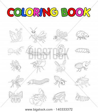 coloring book with collection of insects cartoon