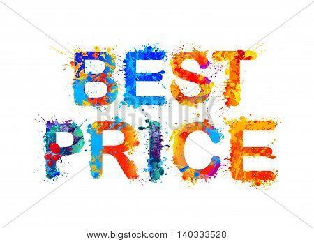Best price. Vector watercolor splash paint inscription