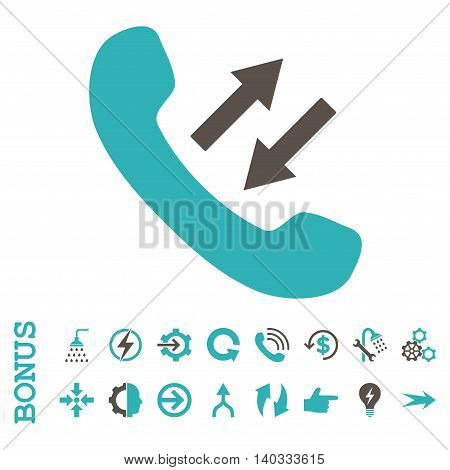 Phone Talking vector bicolor icon. Image style is a flat pictogram symbol, grey and cyan colors, white background.