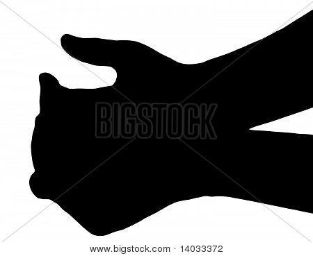 Silhouette Vector Begging Hands on White
