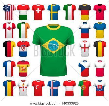 Collection of various soccer jerseys. National shirt design. Vector illustration