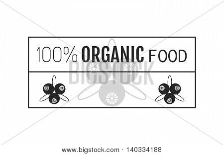 Organic food. Logo, badge, label for healthy eating with berry icon, silhouette. Vector illustration