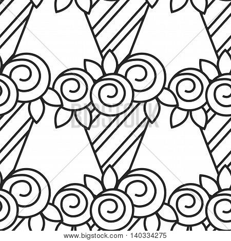 Bouquet of roses. Black and white seamless pattern with flowers for coloring book. Vector illustration