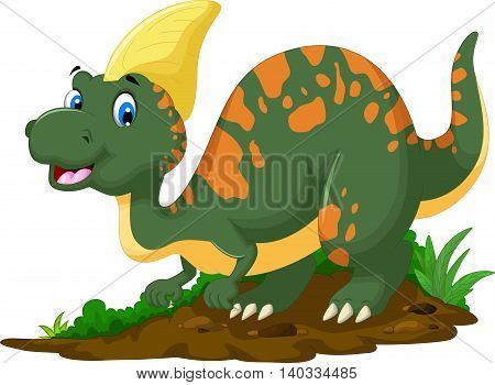 cute Dinosaur Parasaurolophus cartoon posing for you design