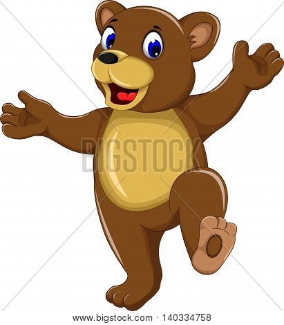 happy bear cartoon walking for you design