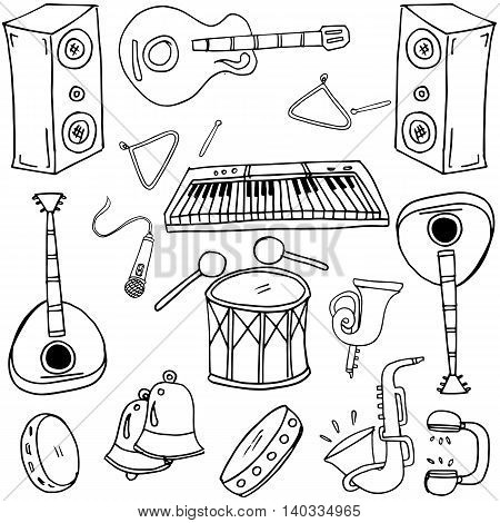 Hand drawn collection with music doodles vector iillustration