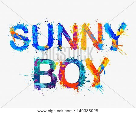 Sunny boy. Vector watercolor multicolored watercolor inscription