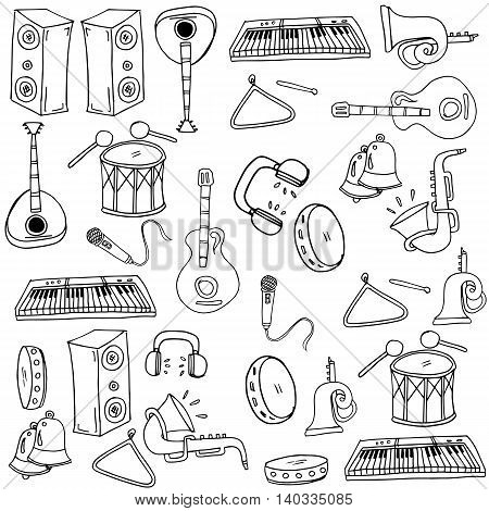 Doodle of music element with hand draw