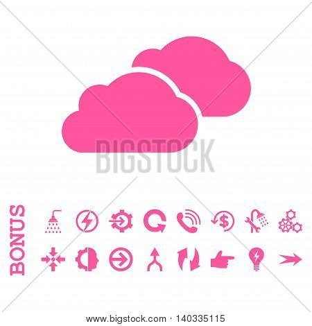 Clouds vector icon. Image style is a flat iconic symbol, pink color, white background.