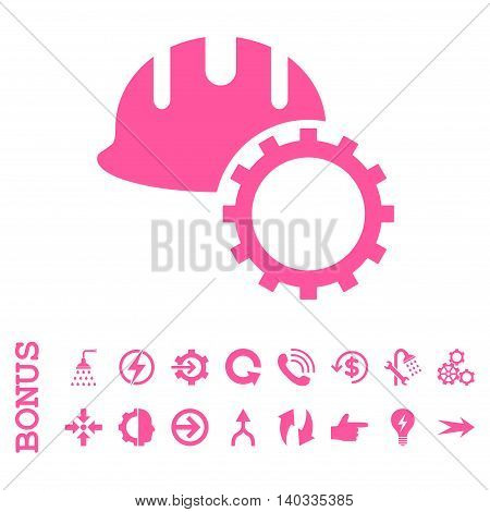 Development Hardhat vector icon. Image style is a flat iconic symbol, pink color, white background.