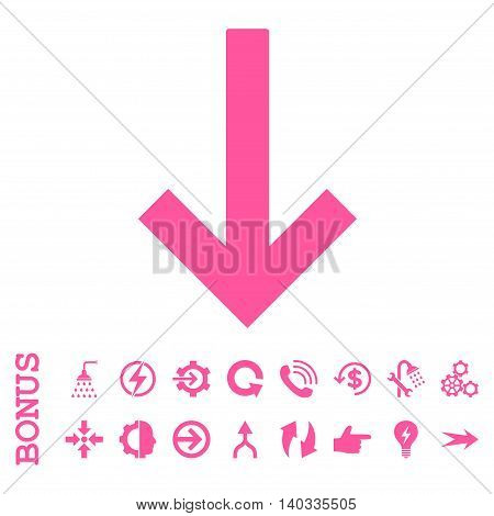 Down Arrow vector icon. Image style is a flat pictogram symbol, pink color, white background.