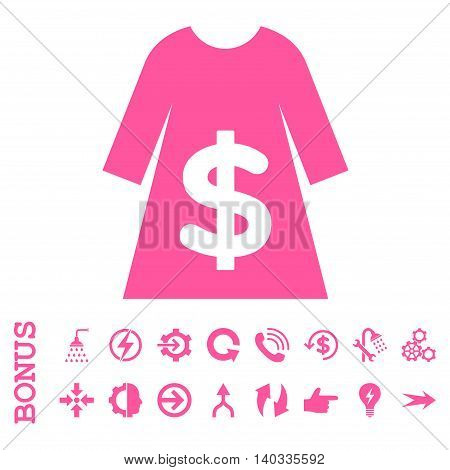 Dress Sale vector icon. Image style is a flat iconic symbol, pink color, white background.