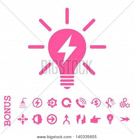 Electric Light Bulb vector icon. Image style is a flat pictogram symbol, pink color, white background.