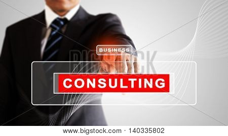Businessman hand pressing on business consulting screen