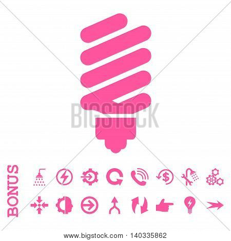 Fluorescent Bulb vector icon. Image style is a flat iconic symbol, pink color, white background.