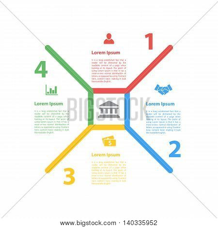 four steps cycle process diagram infographic layout concept vector illustration for business, company, organization