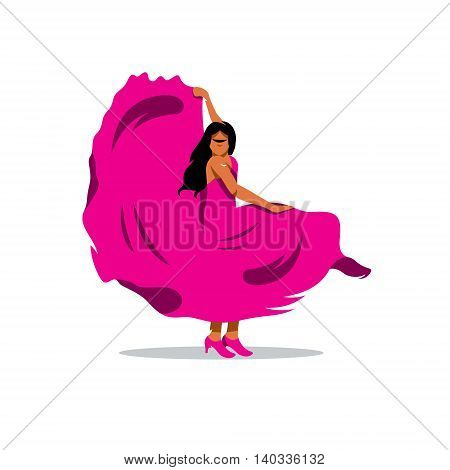 Girl in a luxurious pink dress. Isolated on a white background