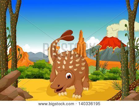 funny Ankylosaurus Dinosaur cartoon with forest landscape background