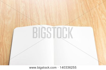 Blank Open Notebook On Wood Table,business Template Mock Up For Adding Your Text