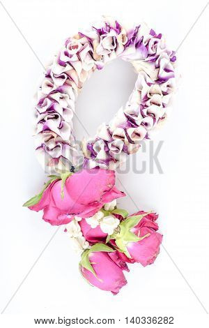 close up Thai garland on white background.