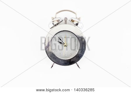 Front View Of Silver Alarm Clock Isolated On White Background