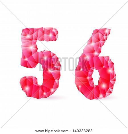 Shiny ruby polygonal font on white background. Crystal style 5 and 6 numerals