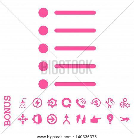 Items vector icon. Image style is a flat pictogram symbol, pink color, white background.